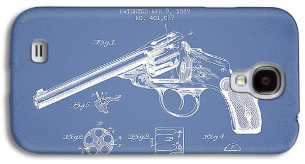 Wesson Revolver Patent Drawing From 1889 - Light Blue Galaxy S4 Case by Aged Pixel
