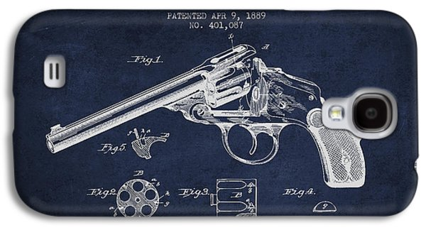 Wesson Revolver Patent Drawing From 1889 - Navy Blue Galaxy S4 Case by Aged Pixel