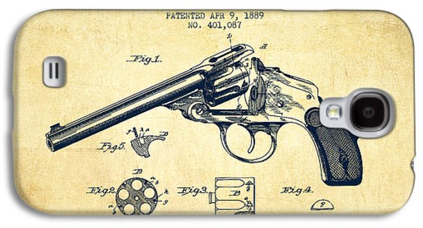 Wesson Revolver Patent Drawing From 1889 - Vintage Galaxy S4 Case by Aged Pixel