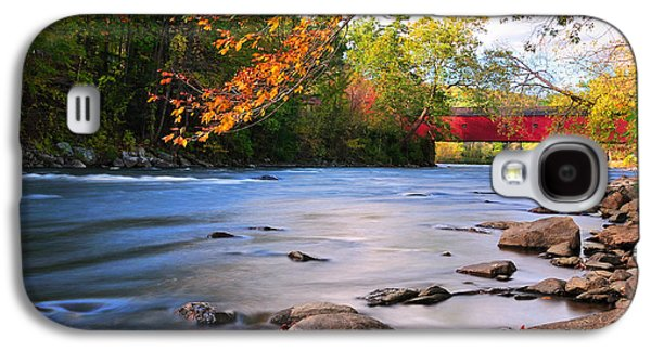 Nature Scene Photographs Galaxy S4 Cases - West Cornwall Covered Bridge- Autumn  Galaxy S4 Case by Thomas Schoeller