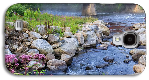 Connecticut Landscape Galaxy S4 Cases - West Cornwall Covered Bridge Square Galaxy S4 Case by Bill  Wakeley
