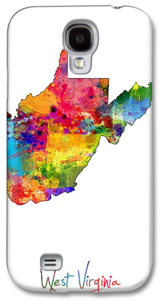 West Digital Art Galaxy S4 Cases - West Virginia Map Galaxy S4 Case by Michael Tompsett
