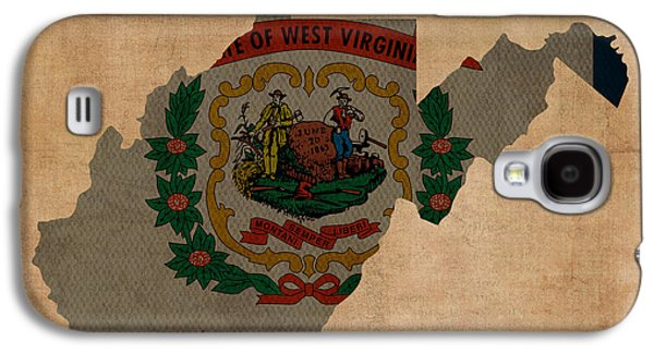 Parchment Galaxy S4 Cases - West Virginia State Flag Map Outline With Founding Date On Worn Parchment Background Galaxy S4 Case by Design Turnpike