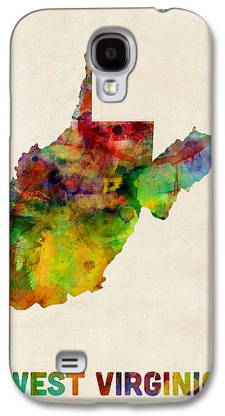 West Digital Art Galaxy S4 Cases - West Virginia Watercolor Map Galaxy S4 Case by Michael Tompsett