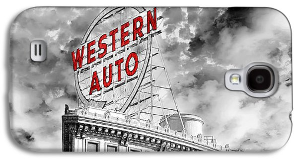 Digital Design Galaxy S4 Cases - Western Auto Sign Downtown Kansas City B W Galaxy S4 Case by Andee Design