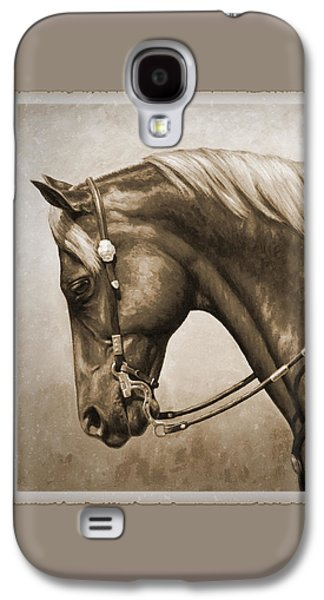 Chestnut Horse Galaxy S4 Cases - Western Horse Aged Photo FX Sepia Pillow Galaxy S4 Case by Crista Forest