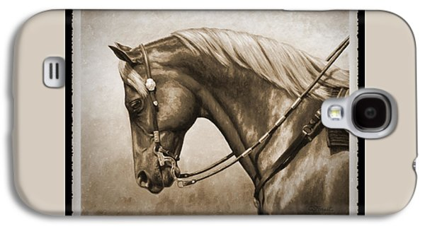 Quarter Horses Galaxy S4 Cases - Western Horse Old Photo FX Galaxy S4 Case by Crista Forest