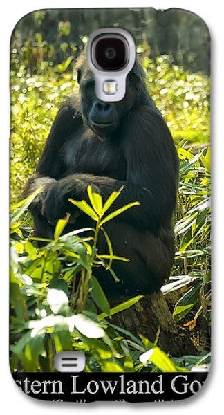 Gorilla Digital Galaxy S4 Cases - Western Lowland Gorilla sitting on a tree stump Galaxy S4 Case by Chris Flees
