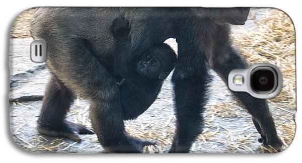 Gorilla Digital Galaxy S4 Cases - Western lowland gorilla with baby Galaxy S4 Case by Chris Flees