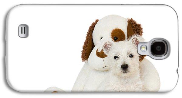 Westie Digital Galaxy S4 Cases - Westie Puppy and Teddy Bear Galaxy S4 Case by Natalie Kinnear