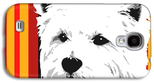 Westie Digital Galaxy S4 Cases - Westie With Stripes Galaxy S4 Case by Cindy Edwards