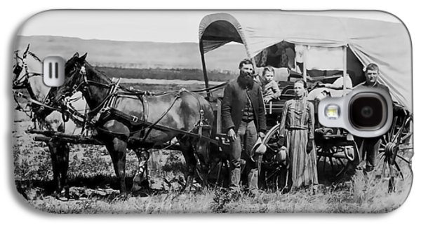 Conestoga Galaxy S4 Cases - WESTWARD FAMILY IN COVERED WAGON c. 1886 Galaxy S4 Case by Daniel Hagerman