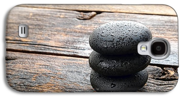 Meditative Photographs Galaxy S4 Cases - Wet Black Stones Galaxy S4 Case by Olivier Le Queinec
