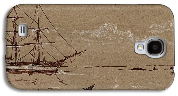 Frigates Paintings Galaxy S4 Cases - Whaler ship frigate Galaxy S4 Case by Juan  Bosco