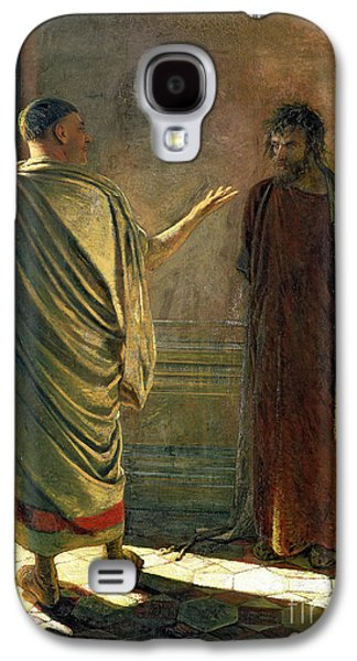 Philosophical Galaxy S4 Cases - What is Truth    Christ and Pilate Galaxy S4 Case by Nikolai Nikolaevich Ge