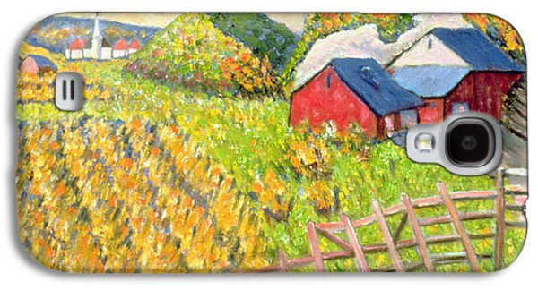 Farm Fields Paintings Galaxy S4 Cases - Wheat Harvest Kamouraska Quebec Galaxy S4 Case by Patricia Eyre