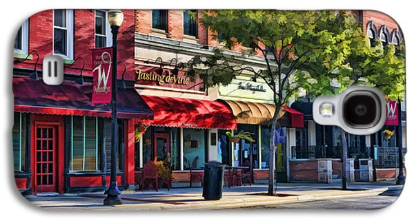 Store Fronts Paintings Galaxy S4 Cases - Wheaton Front Street Store Fronts Galaxy S4 Case by Christopher Arndt