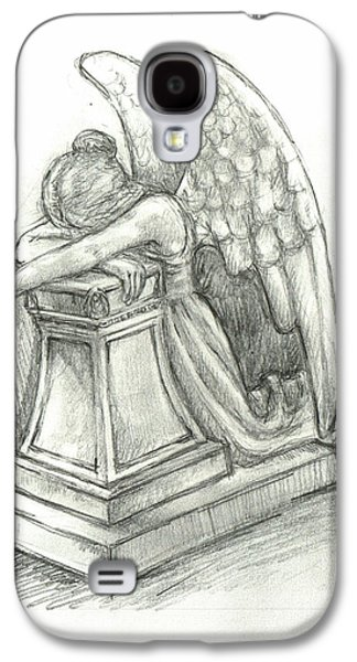 Weeping Drawings Galaxy S4 Cases - When Angels weep 2 Galaxy S4 Case by Lina Zolotushko