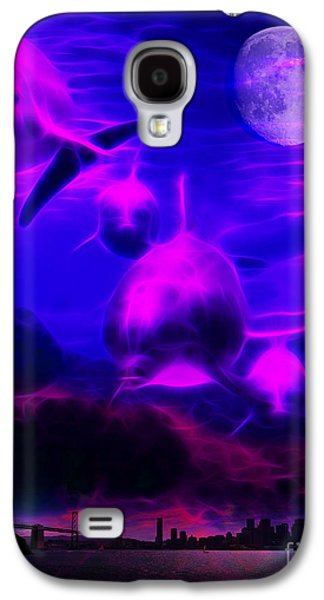 Dolphin Digital Art Galaxy S4 Cases - When Dolphins Cry Galaxy S4 Case by Wingsdomain Art and Photography