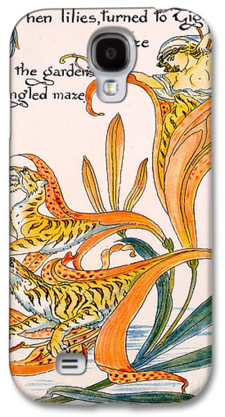 Illustration Paintings Galaxy S4 Cases - When lilies turned to Tiger Blaze Galaxy S4 Case by Walter Crane