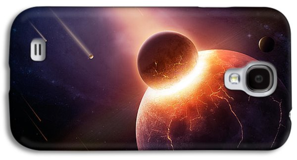 Exploding Galaxy S4 Cases - When planets collide Galaxy S4 Case by Johan Swanepoel