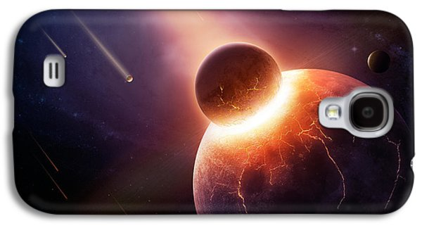 Burnt Digital Art Galaxy S4 Cases - When planets collide Galaxy S4 Case by Johan Swanepoel
