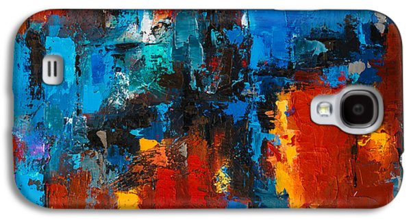 Abstractions Paintings Galaxy S4 Cases - When red and blue meet Galaxy S4 Case by Elise Palmigiani