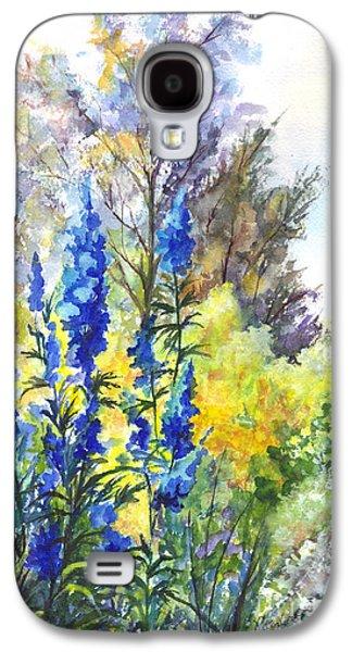 Garden Scene Drawings Galaxy S4 Cases - Where The Delphinium Blooms Galaxy S4 Case by Carol Wisniewski