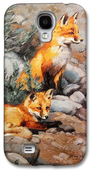 Fox Kit Paintings Galaxy S4 Cases - While Mommas Out Galaxy S4 Case by Mark McKenna