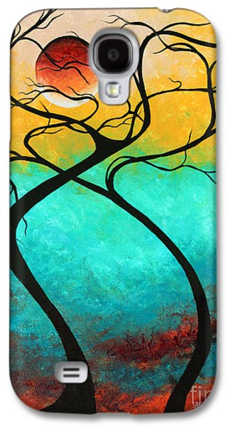 Abstract Landscape Galaxy S4 Cases - Whimsical Abstract Tree Landscape with Moon Twisting Love III by Megan Duncanson Galaxy S4 Case by Megan Duncanson