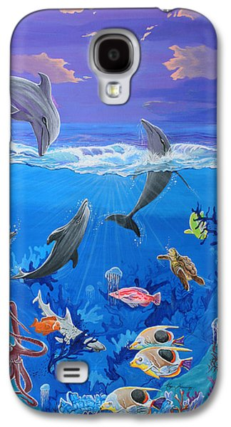 Shark Paintings Galaxy S4 Cases - Whimsical Original Painting UNDERSEA WORLD Tropical Sea Life Art by MADART Galaxy S4 Case by Megan Duncanson