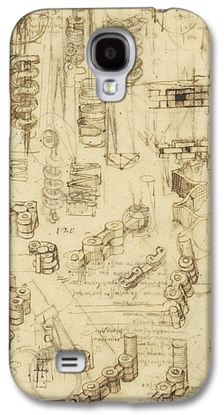 Ink Drawings Galaxy S4 Cases - Whirling rotation and helicoidal chains and springs for mechanical devices Galaxy S4 Case by Leonardo Da Vinci