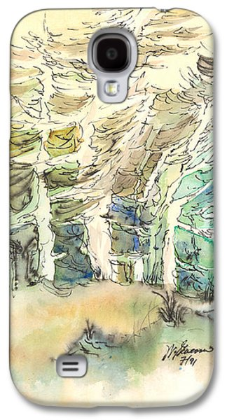 Windblown Paintings Galaxy S4 Cases - White and Green Forest Galaxy S4 Case by Walt Stevenson