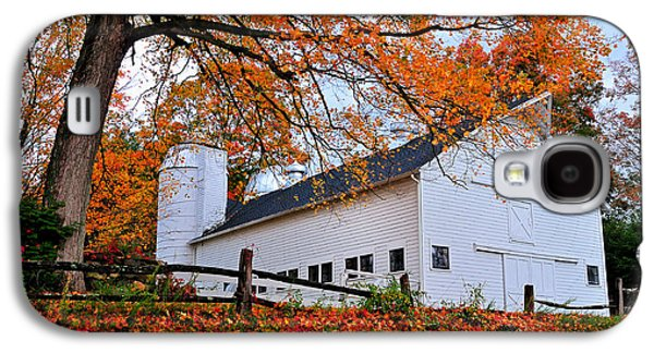 Old Barns Galaxy S4 Cases - White Barn and Silo Galaxy S4 Case by Thomas Schoeller