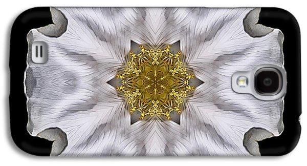 David J Bookbinder Galaxy S4 Cases - White Beach Rose I Flower Mandala Galaxy S4 Case by David J Bookbinder