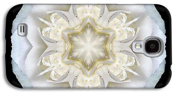 David J Bookbinder Galaxy S4 Cases - White Begonia II Flower Mandala Galaxy S4 Case by David J Bookbinder