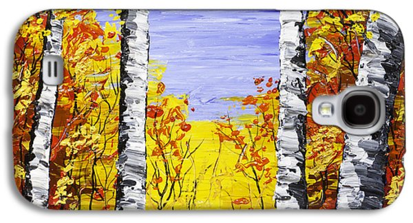 Woodlands Scene Paintings Galaxy S4 Cases - White Birch Tree Abstract Painting In Fall Galaxy S4 Case by Keith Webber Jr