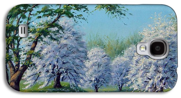 A Sunny Morning Paintings Galaxy S4 Cases - White Blossoms Galaxy S4 Case by Rick Hansen
