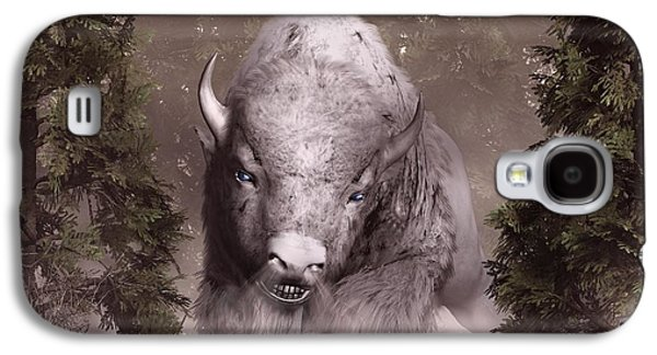 Bison Digital Art Galaxy S4 Cases - White Buffalo Galaxy S4 Case by Daniel Eskridge