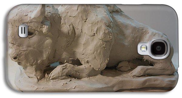 Bison Sculptures Galaxy S4 Cases - White Buffalo sculpture 2 Galaxy S4 Case by Derrick Higgins