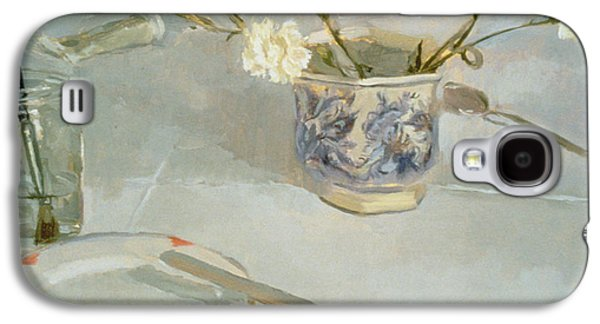 Water Jars Galaxy S4 Cases - White Carnations In January Oil On Canvas Galaxy S4 Case by Sarah Butterfield