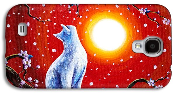 Cherry Blossoms Galaxy S4 Cases - White Cat in Bright Sunset Galaxy S4 Case by Laura Iverson