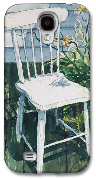 Empty Chairs Paintings Galaxy S4 Cases - White chair and Day Lilies Galaxy S4 Case by Joy Nichols