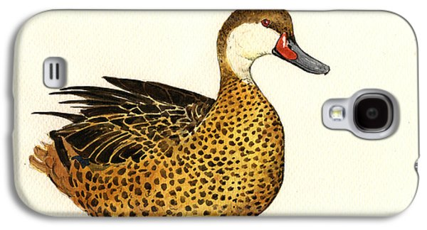 Ornithology Paintings Galaxy S4 Cases - White cheeked pintail Galaxy S4 Case by Juan  Bosco