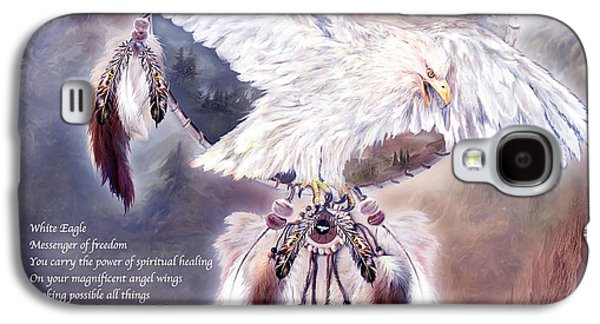 Eagle Mixed Media Galaxy S4 Cases - White Eagle Dreams w/prose Galaxy S4 Case by Carol Cavalaris