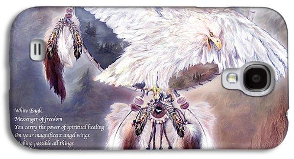 Eagle Mixed Media Galaxy S4 Cases - White Eagle Dreams w/prose Galaxy S4 Case by Carol Cavalaris