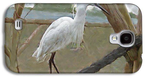 Digital Glass Galaxy S4 Cases - White Egret Galaxy S4 Case by Rumyana Whitcher