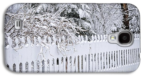 Snow-covered Landscape Galaxy S4 Cases - White fence with winter trees Galaxy S4 Case by Elena Elisseeva