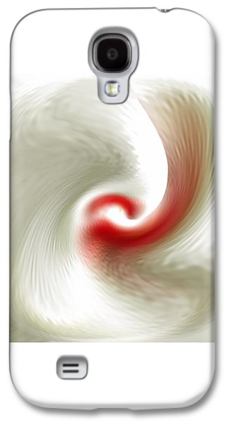 White Flower Abstraction Galaxy S4 Case by Ben and Raisa Gertsberg