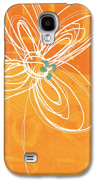 White Flower On Orange Galaxy S4 Case by Linda Woods